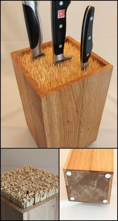 Yes knife blocks are definitely affordable. But why spend extra on a regular knife block when you can easily make one thats simple yet more elegant and functional! This clever universal knife block design came from the creative mind of Martin Robitsch.