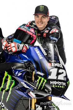 Monster Energy takes over as the new title sponsor of the Yamaha MotoGP squad, and that means new graphics to go with the team's new mentality. Motogp Teams, Motogp Race, Vinales, Amg Car, Manchester United Team, Motorcycle Men, Sepang, Yamaha Motorcycles, Motorcycles