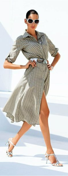 White Polka dots on a Taupe Shirt dress