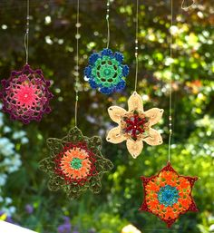 Crochet lace suncatcher, flower doily mandala, crochet hanger turquoise, violet and coral colors, beaded. Made to order.