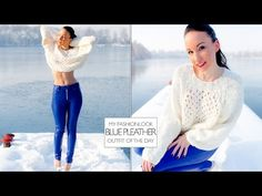 Lederhose blau mit weissem Wollpullover, Pumps - Winter-OOTD - Video #pleather #lederhose #leatherpants