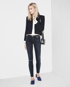 Short Biker jacket with a leather collar - Jackets - Private sales Women - The Kooples