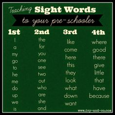 teaching sight words to kids pre-schoolers - list of words and what order to teach them in