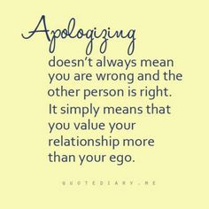 Apologizing!
