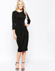 Closet Drape Detail Midi Dress