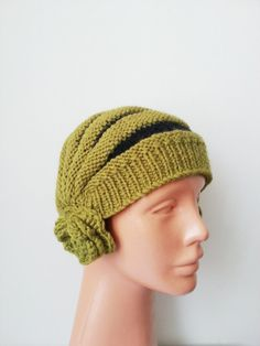 Green Black Knit Slouchy beanie Hat, for men and women, Cable Beret Hat, chunky knit hat, ... $25