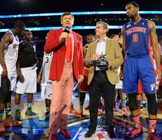 Craig Sager interviews BBVA President and COO Ángel Cano and Andre Drummond, awarded the MVP award for the Rising Stars Challenge part of NBA All-Star Weekend on Feb. 14, 2014 at the Smoothie King Center in New Orleans. .....  photo by Andrew D. Bernstein/NBAE via Getty Images