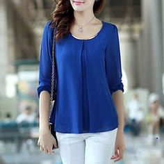 Women's+Casual/Daily+Simple+/+Street+chic+Summer+Blouse,Solid+Round+Neck+Long+Sleeve+Blue+/+Red+/+White+/+Black+/+Yellow+Translucent+–+USD+$+7.99