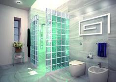 Un baño que marcará la diferencia. Decorado con un estilo vanguardista. Bloques de vidrio de la gama AGUA, que combina el color turquesa con neutro. Efecto ondas en movimiento.