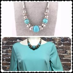 Turquoise Statement Necklace Cute with a dress or a sweater. Jewelry Necklaces