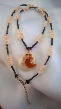 Vintage Seashell Beaded Necklace Carnelian Crescent Gift For Her Wiser Owl's Nest by Wiserowlsnest on Etsy