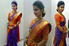 Blue Benaras Saree Orange Blouse