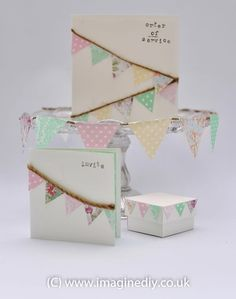 Use your scrap paper to create cute bunting stationery