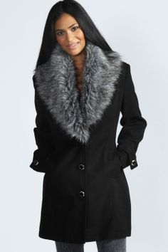Libby Shawl Faux Fur Collar Fitted Coat