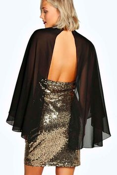 This sparkly dress with bonus cape from Boohoo. | 21 Gorgeous Cape Dresses You Can Buy Online Right Now