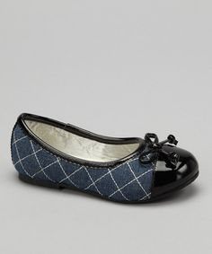 This Denim Quilted Patent-Toe Flat is perfect! #zulilyfinds