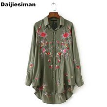 18fc2fba89bb Vintage Rose Floral Print Embroidery Blouse Long Sleeve Turn-down Collar  Shirt Women Tops Army