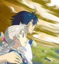 Howl's Moving Castle Fan Art: Howl and Sophie M Anime, Anime Love, Kawaii Anime, Anime Art, Hayao Miyazaki, Sophie Howl's Moving Castle, Howls Moving Castle, Howl Et Sophie, Totoro