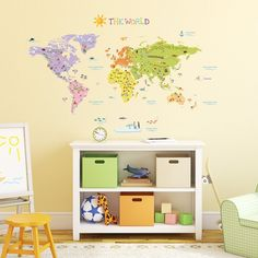 Decowall, DMT-1306, The World Map Wall Stickers/Wall decals/Wall tattoos/Wall transfers: Amazon.co.uk: DIY & Tools