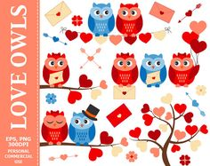More #Owl #Clipart can be found here: http://etsy.me/2o5eXFc  Love Owls Clip Art - Owl, Hearts, Love, Wedding, Branch, Bunting, Valentine's Day Clip Art. Commercial and Perso... #thecreativemill #digital #vector