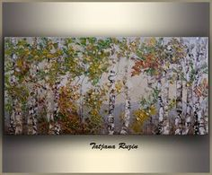 Birch Trees painting by Tatjana Oil Painting palette knife