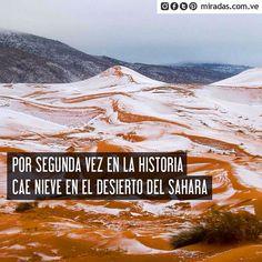 Actualidad>> Se trata de la primera vez en los últimos 37 años que ocurre este fenómeno en el desierto más cálido del mundo.La primera vez que nevó en el desierto del Sahara fue el 18 de febrero de 1979 y hace tres días el 19 de diciembre volvió a ocurrir el mismo fenómeno.  Las imágenes fueron tomadas por el fotógrafo Karim Bouchetata y publicadas en su cuenta de Facebook. En ellas se puede apreciar la nieve sobre la arena roja del desierto que toca parte de la ciudad argelina de Ain Sefra…
