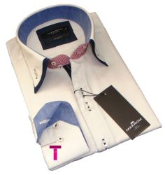 New Mens Off White, Red and Navy Smart Casual Party Double Collar Slim Fit Shirt