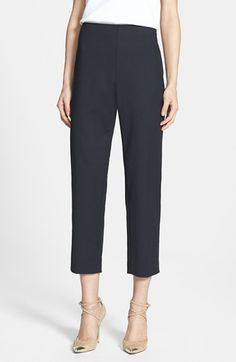 St. John Yellow Label 'Audrey' Double Weave Stretch Cotton Capri Pants available at #Nordstrom