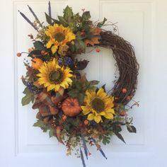 Autumn Wreaths-Fall Wreaths-Summer Wreaths-Front Door Decor-Harvest Decor-Seasonal Wreaths-Holiday Wreaths-Thanksgiving