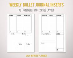 A5 Weekly Layout on 2 Pages - Bullet Journal Printable Template