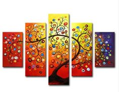 Abstract colorful tree, Painting Oil on Canvas