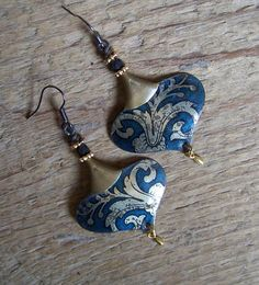 Recycled tin earrings glass beads brass Tin Charms