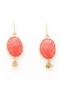 Coral and gold dangle earrings