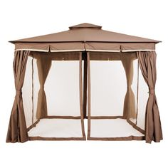 This simple and modern Garden Gazebo 3 offers of usable space and offers an open airy feel. The outdoor gazebo is quick and easy to assemble and features a polyester canopy and matching full side curtains with insect screens. Garden Gazebo, Pergola Patio, Backyard, Outdoor Gazebos, Outdoor Structures, Jamie Durie, Side Dishes For Bbq, Barbecue, A Table