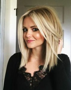 Medium to long elegant hairstyles for fine hair 2018 - Top Trends Short Bobs Haircuts Look Sexy and Charming! Medium Long Hair, Medium Hair Cuts, Medium Hair Styles, Short Hair Styles, Long Bob Fine Hair, Blonde Straight Hair, Medium Length Hair Blonde, Blonde Lob Hair, Fine Hair Cuts