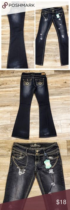 c154641f26 Premiere jeans size 5 6 distressed dark wash🦄 Premiere distressed dark  wash Jean s size