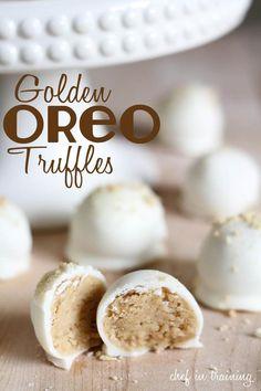 No-bake 3 ingredient golden oreo truffleshttp://www.chef-in-training.com/2012/09/no-bake-golden-oreo-truffles/