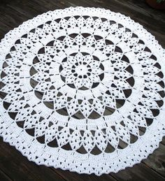 White Cotton Crochet Doily Rug in 45 Circle by byCamilleDesigns, $120.00