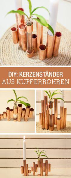DIY-Anleitung für einen Kerzenständer aus Kupferrohen / copper pipe diy: how to make a minimalistic candle stand via DaWanda.com