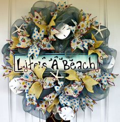 Spring Wreath, Summer Wreath, Beach Wreath, Mesh Wreath, Sand Dollar Starfish Wreath, Indoor Wreath, Outdoor Wreath, Welcome Wreath by MeMaandCo on Etsy