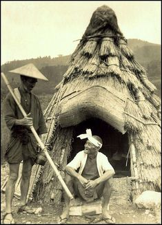 """THE OLD FARMER AND HIS """"MAN CAVE"""" IN THE COUNTRY -- A Nice Little Hut Where He Can Escape from the Wife in OLD JAPAN, via Flickr., 1915-23."""