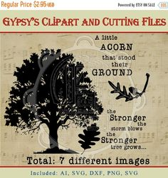 Check out On Sale Oak Tree, Acorn, Invitation Clipart, Tree Cutting file, or Clipart, png, svg,ai,eps, dxf on gypsysclipart