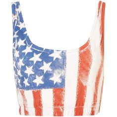 American Flag Bralet ($6.74) ❤ liked on Polyvore featuring tops, shirts, crop tops, bralets, blusas, cream, bralet crop top, cotton crop top, usa flag shirt and cotton shirts
