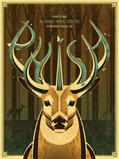 Phish is on the road again this summer and we're (DKNG Studios) very happy to announce our poster for their show at the Blossom Music Center in Cuyahoga Falls. It's a three color screen print and has a limited edition of Poster Process - Phish . Gig Poster, Phish Posters, Concert Posters, Art And Illustration, Graphic Design Illustration, Illustrations Posters, Rock Posters, Band Posters, Music Posters
