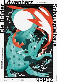 Schauspielhaus Zürich Die Brüder Löwenherz Zusammenarbeit mit Velvet Creative Office 2014 Alice, Bat Signal, Superhero Logos, Rooster, Creative, Art Prints, Illustration, Movie Posters, Animals