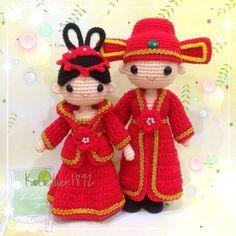 微博团钩作业 - 郎才女貌  新尝试第一次钩古装结婚娃娃  ❤China wedding dolls ❤ #amigurumidoll #amigurumi…