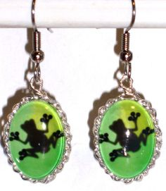 Ohrringe Frosch Tiere Grün Edelstahl Glas Damen Hänger Durchzieher Ohrschmuck