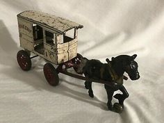 Antique Toys, Vintage Toys, Donkey Drawing, Cast Iron, It Cast, Horse Drawn Wagon, Sand And Gravel, Horse And Buggy, Mack Trucks