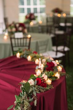 Head table decor   merlot   candles   greenery   sage   wedding   reception