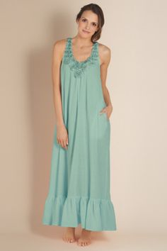Rosa Gown - Cotton Nightgown, Longer Length, On-seam Pockets | Soft Surroundings
